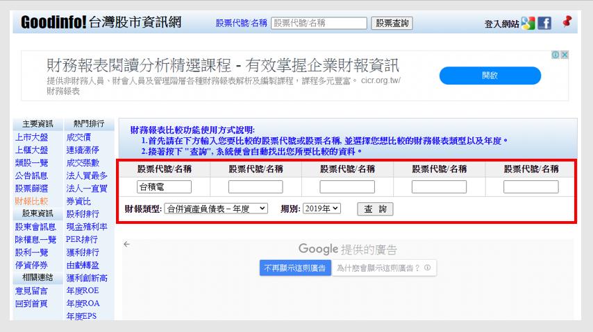 Goodinfo 台灣股市資訊網-財務比較